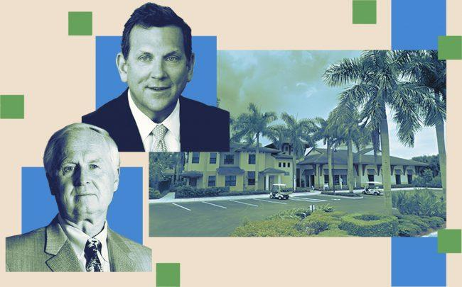 Olen Properties's Igor Olenicoff and Northwestern's John Schlifske with 4045 Central Gardens Way, Palm Beach Gardens (Getty, Twitter, Google Maps)