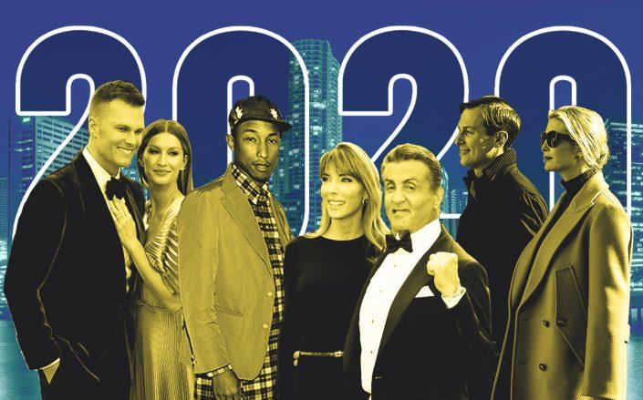 From left: Tom Brady and Gisele Bündchen; Pharrell Williams; Sylvester Stallone and Jennifer Flavin; Jared Kushner and Ivanka Trump (Getty, iStock)
