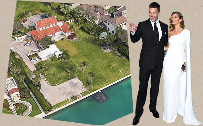 Tom Brady and Gisele Bündchen with 26 Indian Creek Island Road (Getty, Google Maps)