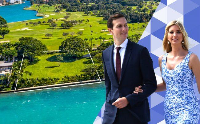 Jared and Ivanka with the Indian Creek Island property (Photos via Getty; Lifestyle Production Group)
