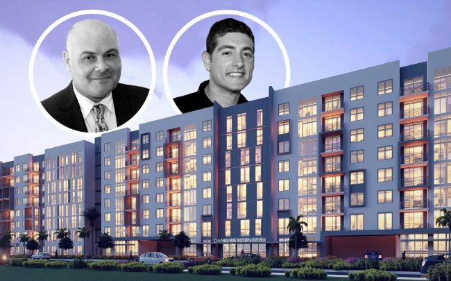 Rendering of Oasis Pointe apartments and Cymbal Development's Asi Cymbal and Hector Torres (Getty, Aztec Group, DLT Global)