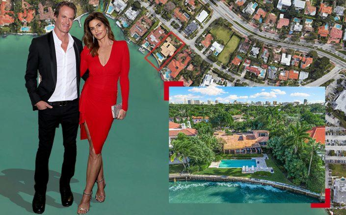 4404 North Bay Road with Cindy Crawford and Rande Gerber (One Sotheby's, Google Maps, Getty)