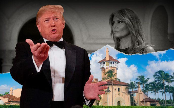 President Donald Trump with Melania Trump and Mar-a-Lago (Getty)