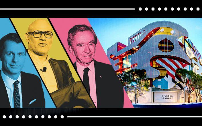 Brookfield Property Partners CEO Brian Kingston, Dacra president and CEO Craig Robins and LVMH chairman and CEO Bernard Arnault with Miami Design District (DACRA, Getty)
