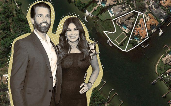 Donald Trump Jr. and Kimberly Guilfoyle with 492 & 494 Mariner Drive (Getty, Google Maps)