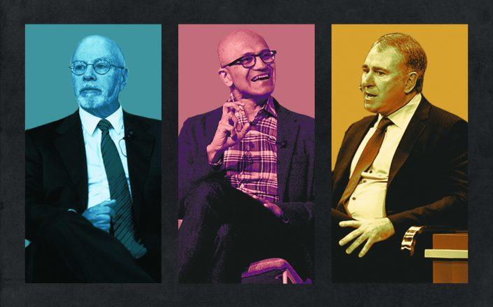 Elliott Management's Paul Singer, Microsoft CEO Satya Nadella and Citadel's Ken Griffin (Getty)
