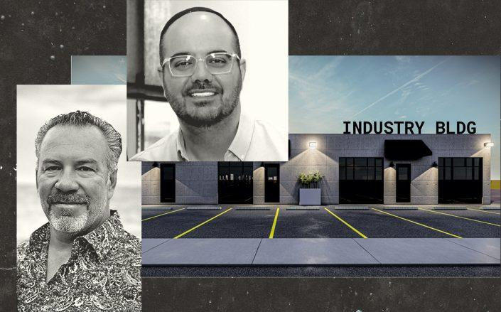 Dan Deitchman and Koby Assaraf with a rendering of Industry | Oakland Park