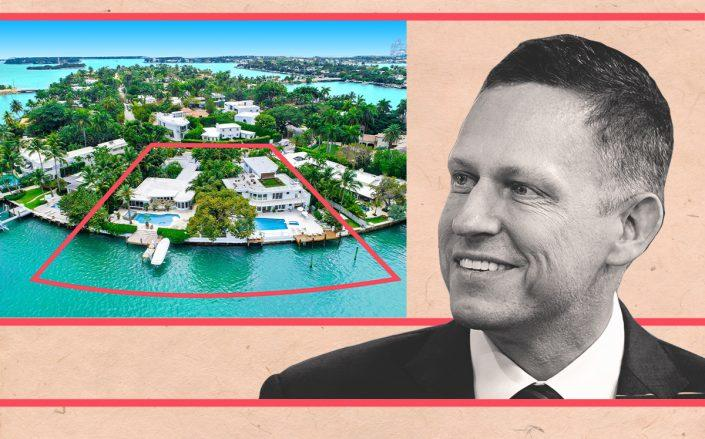 Peter Thiel with 445 to 441 East Rivo Alto Drive (Getty)
