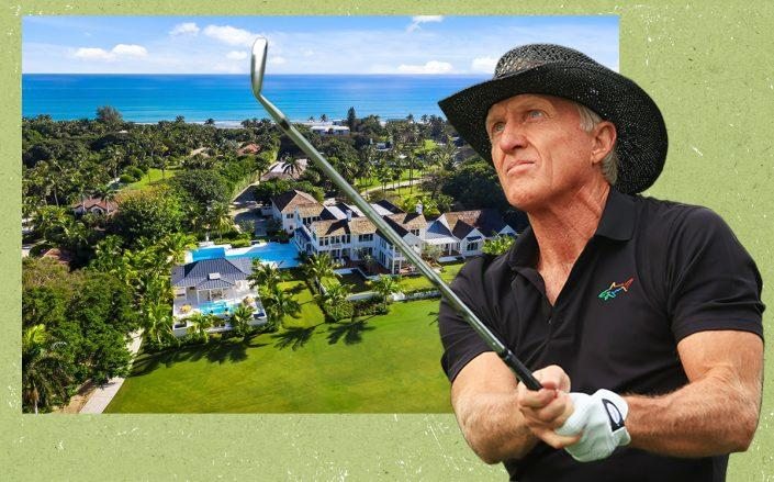 Greg Norman with the Jupiter Island home (Getty, The Jills Zeder Group/photography by Shawn Hood Media)