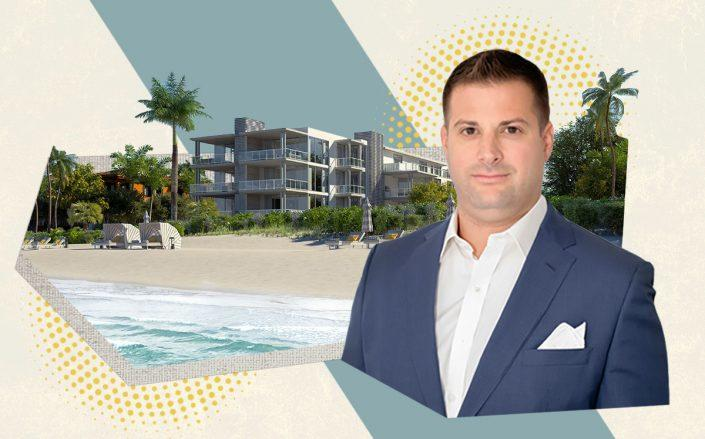 U.S. Construction CEO John Farina and a rendering of 1625 South Ocean Boulevard