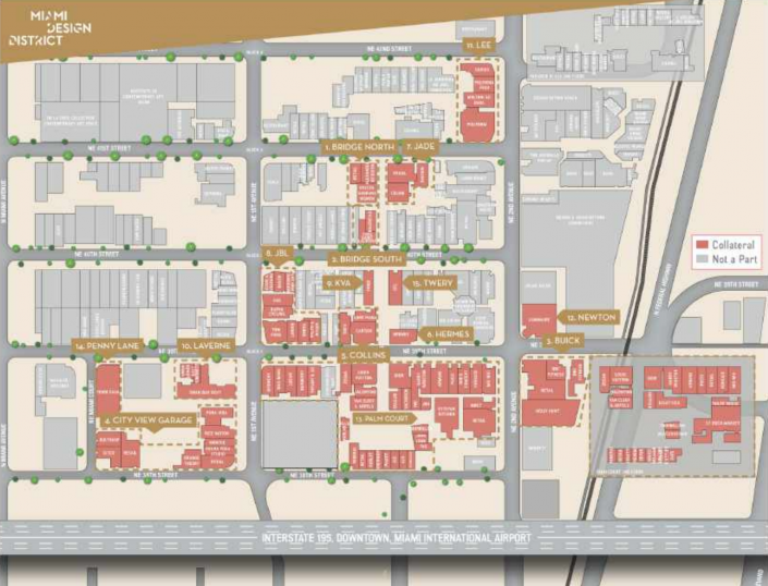 Miami Design District map showing buildings included in loan collateral. (Source: Loan prospectus via Trepp)
