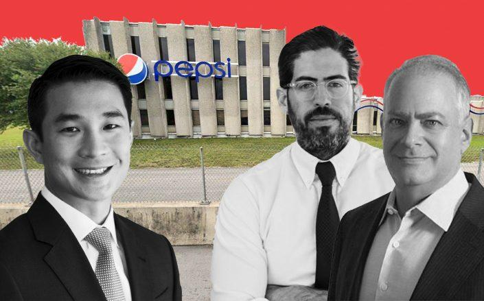 From left: GLP Capital Partners' Alan Yang, David Martin and Stephen Bittel with 7777 Northwest 41st Street in Doral (Google Maps; GLP; Terra)