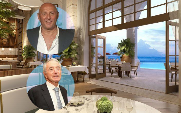 Avra's Nick Tsoulos, the developer Jules Trump and renderings of the restaurant. (Arva, Getty, ArX Solutions)