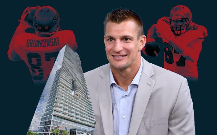 Rob Gronkowski and 1100 Biscayne Boulevard (Getty; Miami Condo Investments/Photo Illustration by Kevin Rebong for The Real Deal)