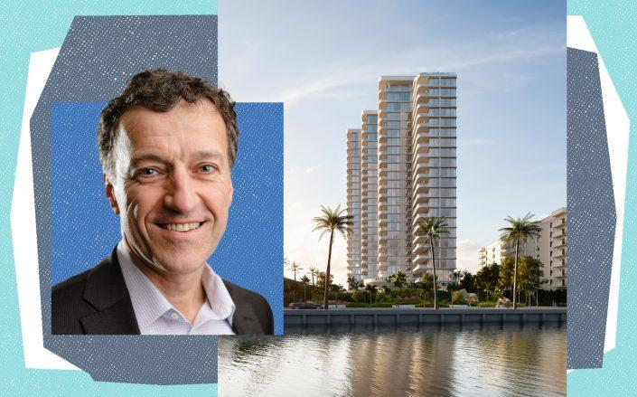 Great Gulf CEO Ilias Konstantopoulos with a rendering of the development at 1515 South Flagler Drive (Great Gulf)