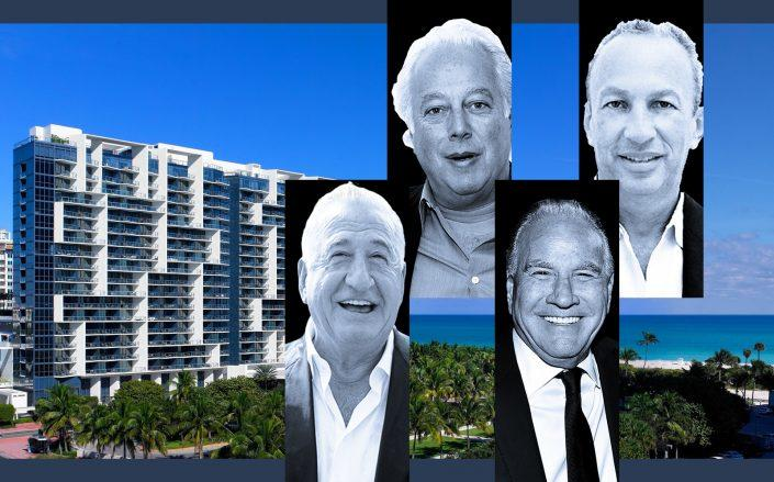 From left: 2201 Collins Avenue in Miami Beach, Joseph Nakash, Aby Rosen, Ralph Nakash, and David Edelstein (Photos via Marriott; Getty)