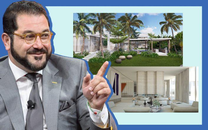 Shervin Pishevar with renderings of the house (Photos via Getty; Menin Homes Design)