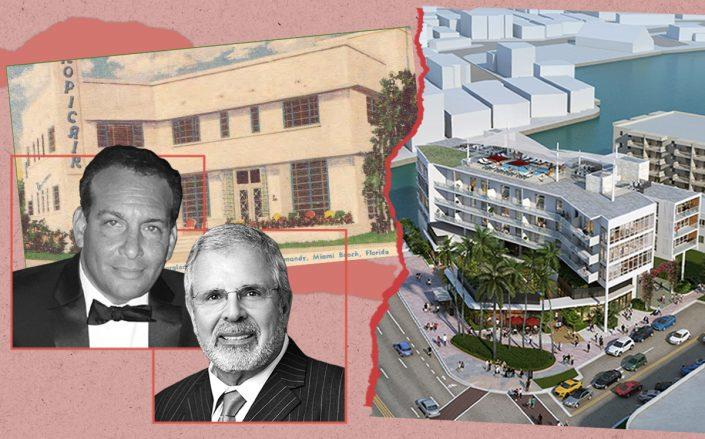 Matis Cohen and Russell Galbut with the original building and a rendering of the Normandy Isles project