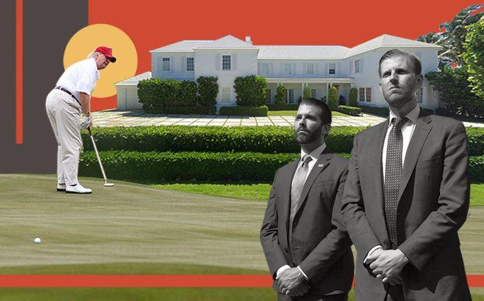 Donald Trump with sons Don Jr. and Eric and 1125 South Ocean Boulevard (Getty, Google Maps/Illustration by Alexis Manrodt for The Real Deal)