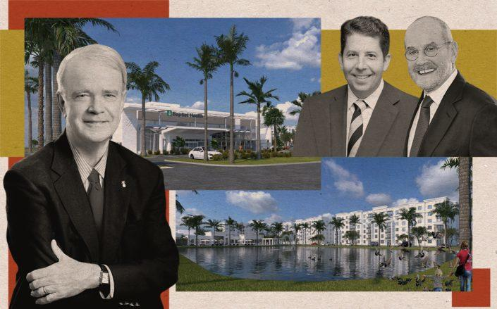 Baptist Health South Florida CEO Brian Keeley with The Altman Companies Seth Wise and Joel Altman and renderings of the project