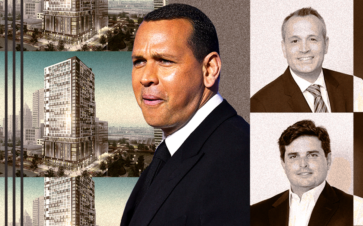Rendering of Grand Station Apartments with Alex Rodriguez, Oscar Rodriguez and Ricardo Vadia (Getty, Rovr/Illustration by Alexis Manrodt for The Real Deal)