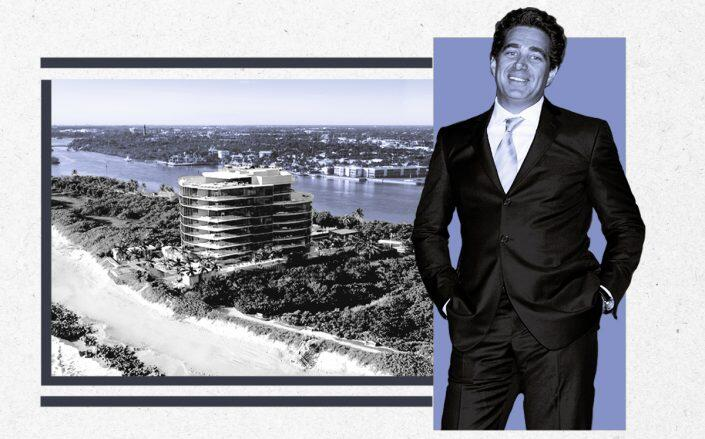 Jeffrey Soffer and a rendering of SeaGlass Jupiter Island (Getty)