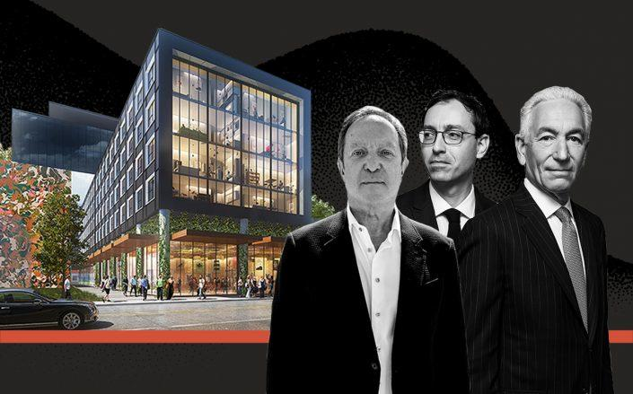 Gustavo Miculitzki, Laurent Morali and Charles Kushner with a rendering of their Wynwood project