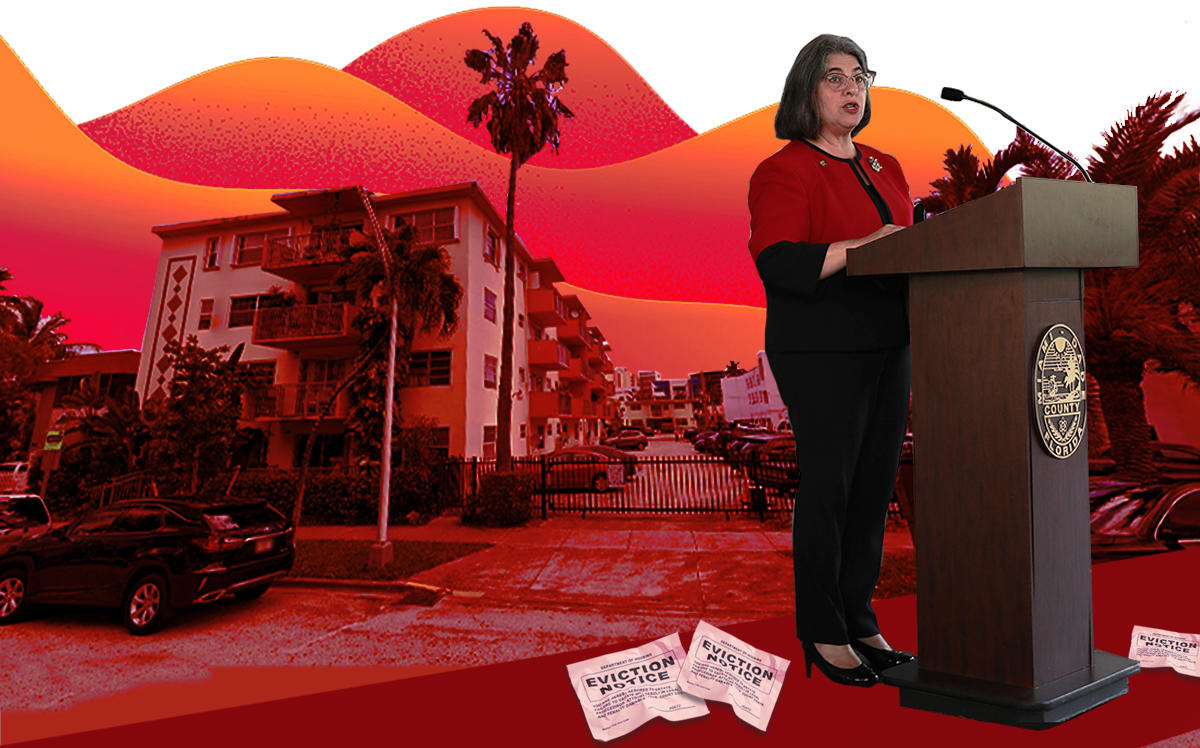 Miami-Dade County Mayor Daniella Levine Cava and 525 Meridian Avenue, one of the properties seeking to evict (Getty, Google Maps)
