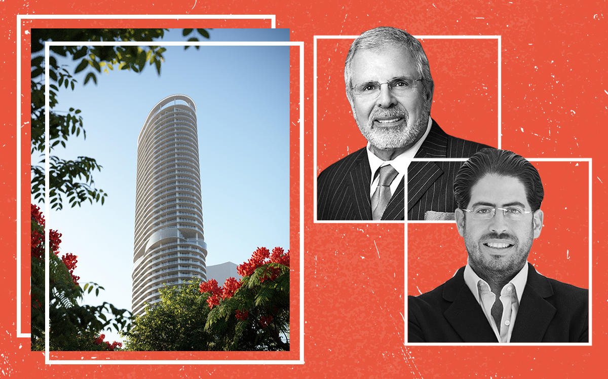 David Martin and Russell Galbut with a rendering of 500 Alton Road
