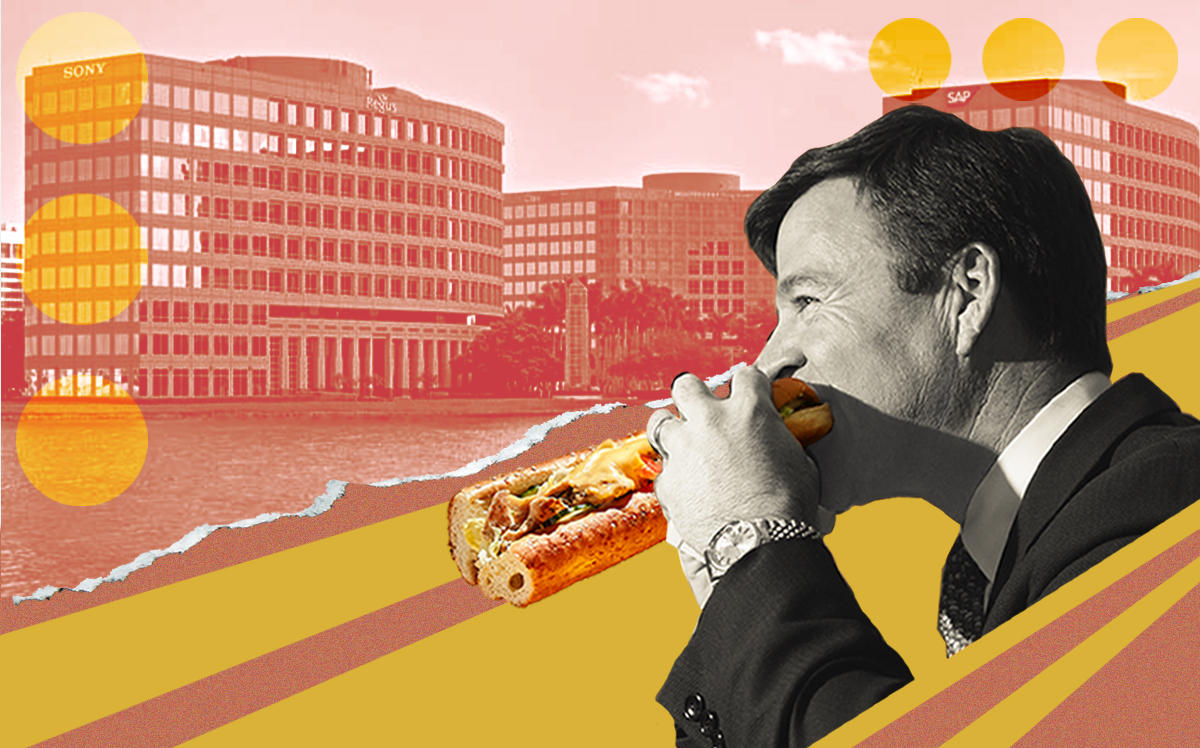 Waterford Business District in Miami and Subway CEO John Chidsey (Nuveen, Getty, iStock/Illustration by Alexis Manrodt for The Real Deal)