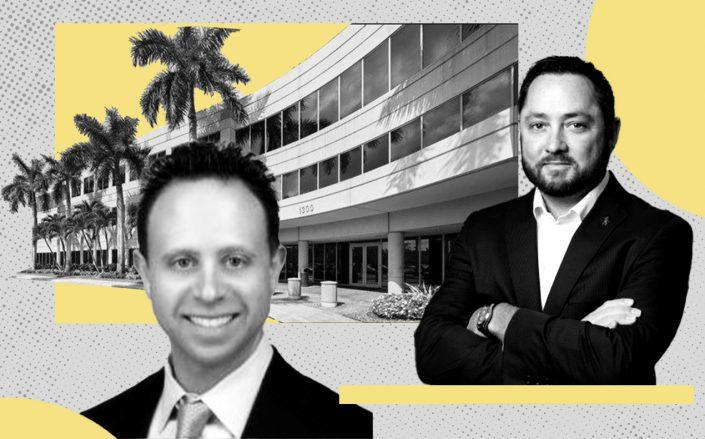Sunrise Corporate Plaza at 1300 Sawgrass Corporate Parkway with Stiles CEO Kenneth Stiles (right) and IP Capital Partners president Jason Isaacson (CBRE, Stiles, IP Capital)
