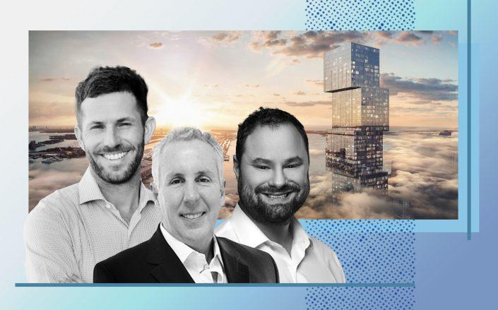 PMG principals Kevin Maloney (middle), Ryan Shear (left) and Dan Kaplan with a rendering of Waldorf Astoria Miami (PMG, Muse Residences, Rendering via ArX Solutions)