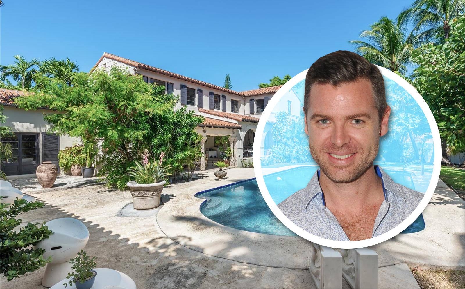 Jean-Louis Deniot and his recently sold Miami house. (Getty, Berkshire Hathaway Home Services)