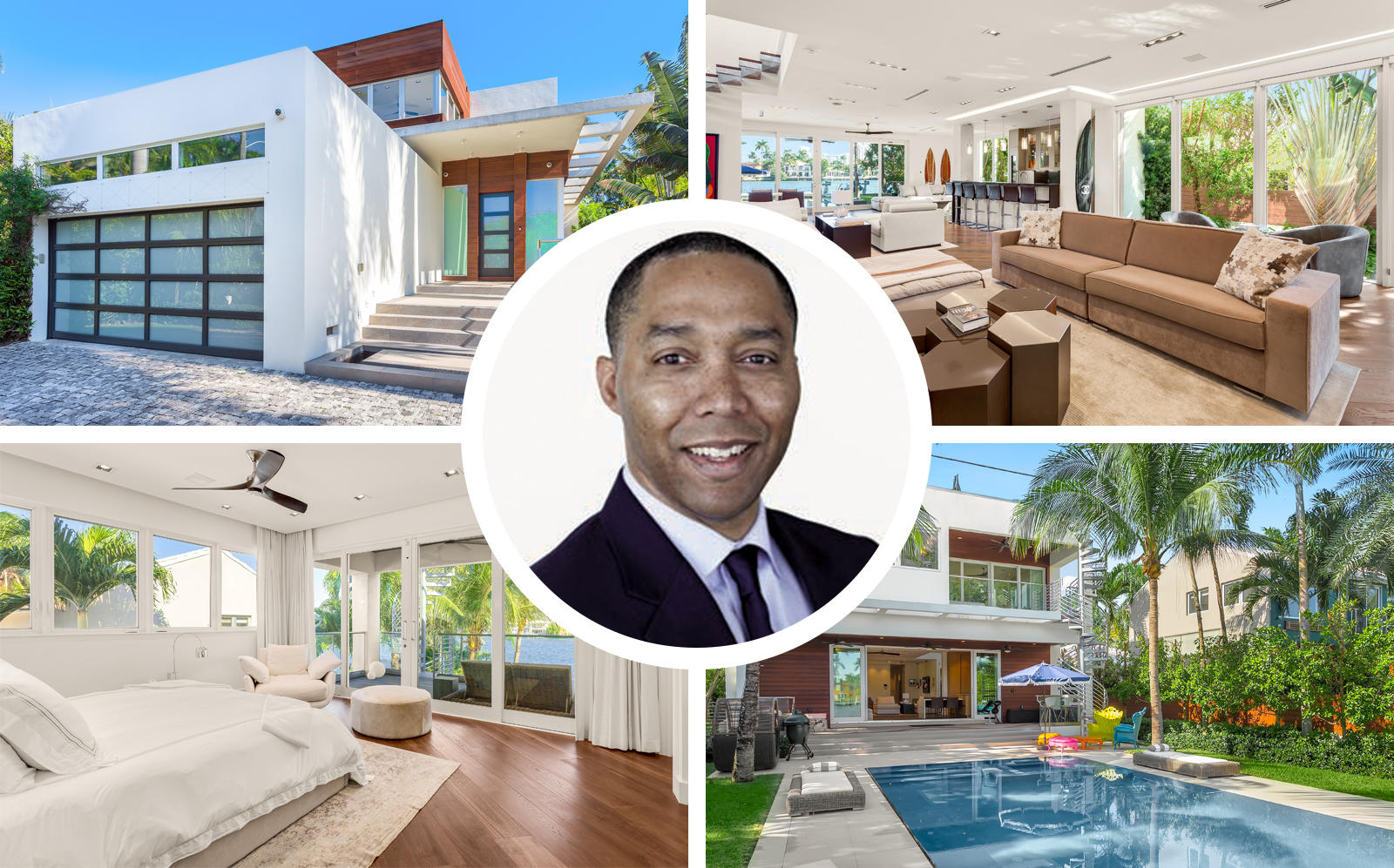 Colin Meadows and 451 East Dilido Drive, Miami Beach. (Invesco, Luxe Living Realty)