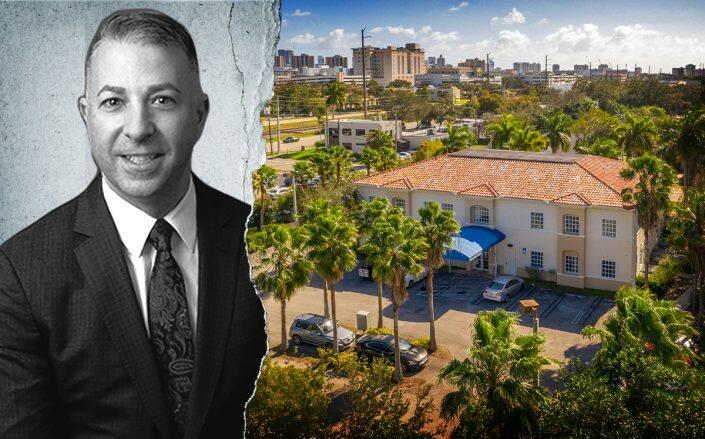 Alliance Consolidated executive Ben Reinberg and the Hallandale Beach medical office building (Alliance Consolidated Group of Companies)