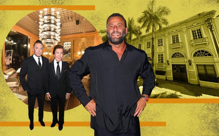David Grutman (center) with Shareef and Al Malnik and the Forge at 432 West 41st Street in Miami Beach (Getty, Google Maps)