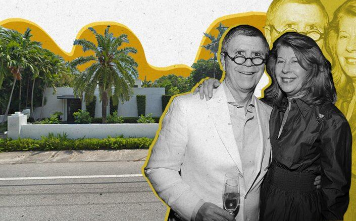 Ed and Jackie Rabin with 505 South County Road, Palm Beach (Patrick McMullan/Getty, Google Maps)
