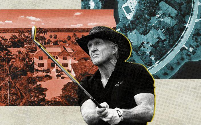 Greg Norman with 382 South Beach Road and 12227 Tillinghast Circle (Getty, Shawn Hood Media, Google Maps)