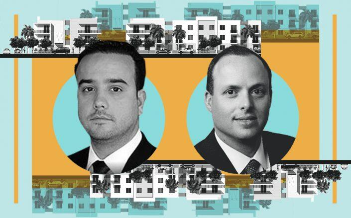 Rendering of The Trail multifamily project with Prestige Companies COO Alexander Ruiz and Centennial Bank Southeast Florida Regional President J.C. de Ona