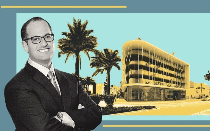 Ronny Finvarb with a rendering of 1790 Alton Road (GEK Architecture)