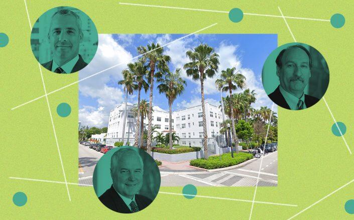 700 Euclid Avenue in Miami Beach and (clockwise from top left) Sentinel executives Scott Arden, Martin Cawley and George Tietjen (Google Maps)