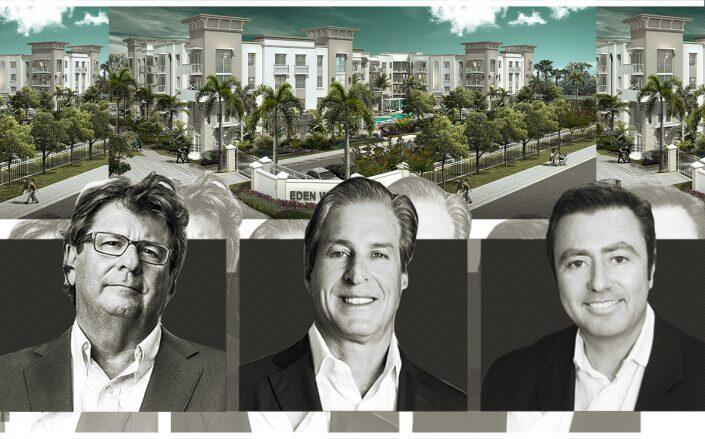Eden Multifamily heads Jay Massirman and Jay Jacobson with Cypress Equity Investments CEO Michael Sorochinsky (rendering courtesy of MSA Architects)