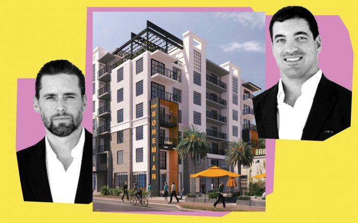 Affiliated Development's Jeff Burns and Nick Rojo with a rendering of the Bohemian in Lake Worth (Affialiated Development, MSA Architects)