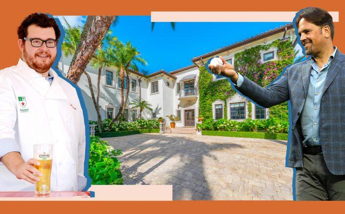 Major Food Group's Jeffrey Zalaznick and Mike Piazza with the Miami Beach mansion (Getty, The Jills – Photography by Luxhunters)