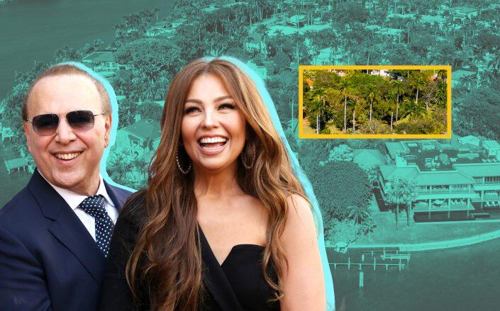 Tommy Mottola and Thalía with an aerial view of 31 La Gorce Circle (Getty)