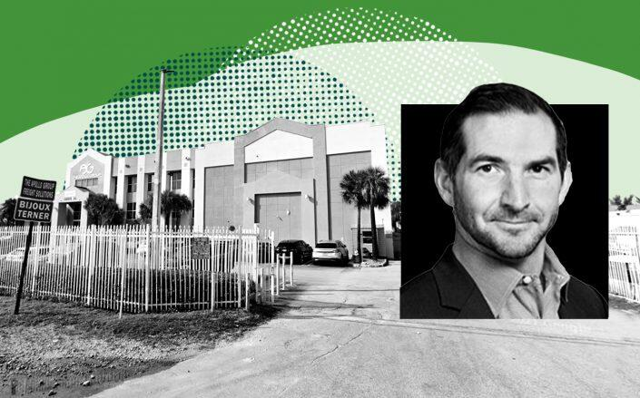 6950 Northwest 77 Court in Miami-Dade County and Ivy Realty's Drew DeWitt (Google, Ivy Realty)