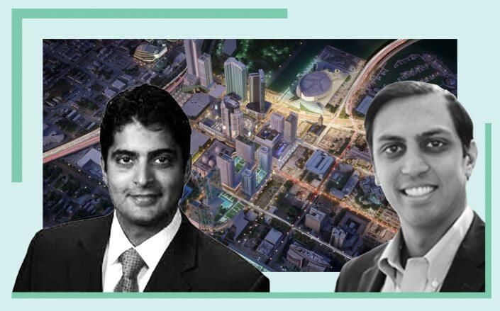 Miami Worldcenter Associates' Nitin Motwani, Abbhi Capital founder Sankesh Abbhi and a rendering of the site (Photos via Miami Worldcenter, Abbhi)