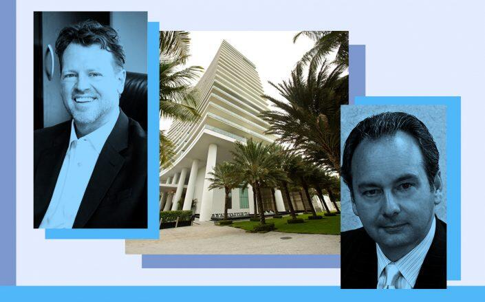 From left: Howard Frank Auman and Patrick J. Peyton with Apogee at 800 South Pointe Drive, Miami Beach (Photos via Signature Property Group, PAMM, Sieger Suarez Architects)