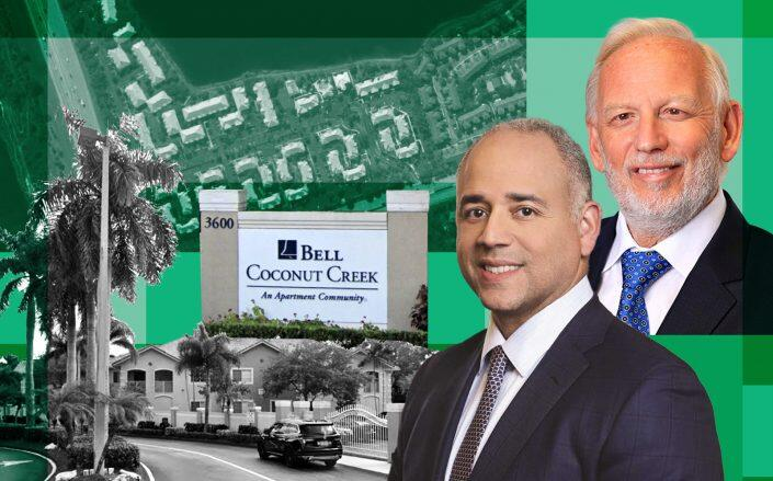 Coconut Creek Apartment Homes at 3621 Hillsboro Boulevard in Coconut Creek with Nuveen CEO Jose Minaya and Bar Invest CEO Jacques Barbera (Google Maps, Nuveen. Bar Invest)