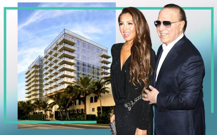 Tommy and Thalía Mottola and Four Seasons Residences at The Surf Club (Getty, Richard Meier & Partners Architects)